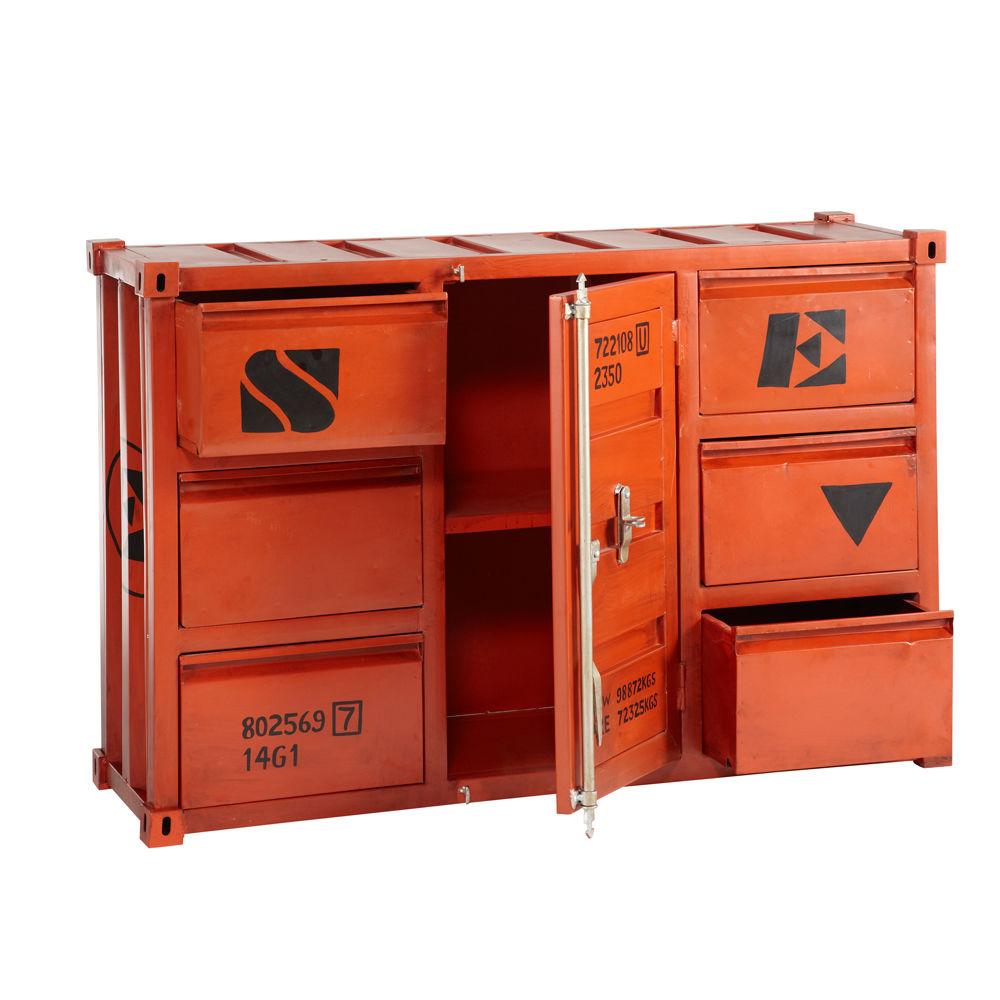Buffet container en métal rouge L 134 cm Carlingue  Maisons du Monde -> Meuble Carlingue
