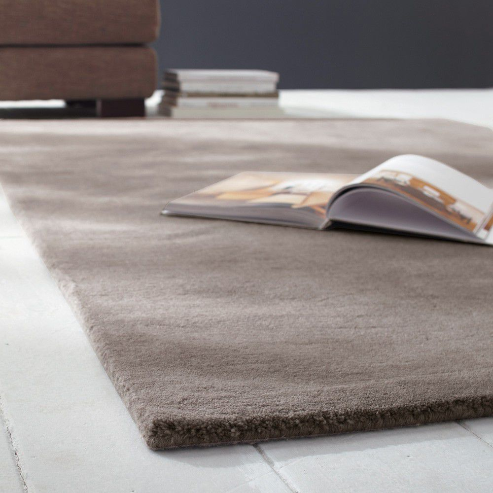 tapis poils courts en laine taupe clair 200 x 200 cm soft maisons du monde. Black Bedroom Furniture Sets. Home Design Ideas