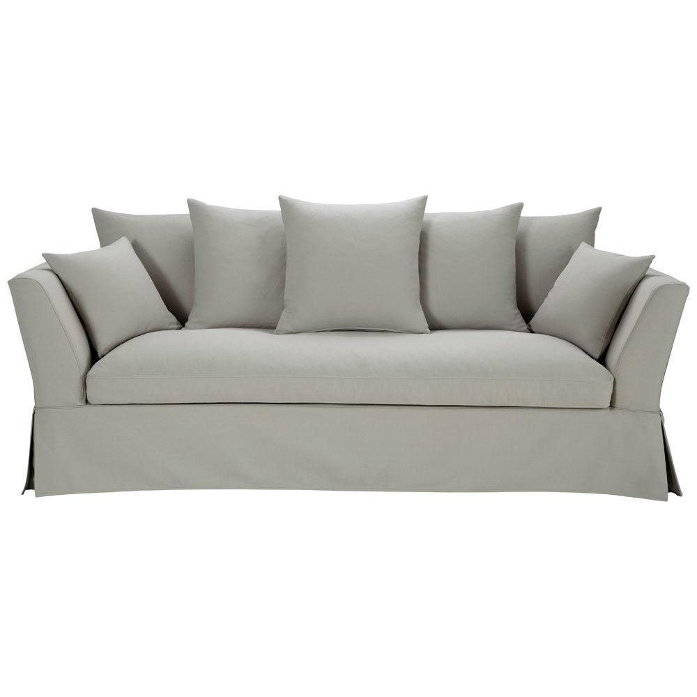 Sofa In Light Grey Cotton Seats 3 Hamilton