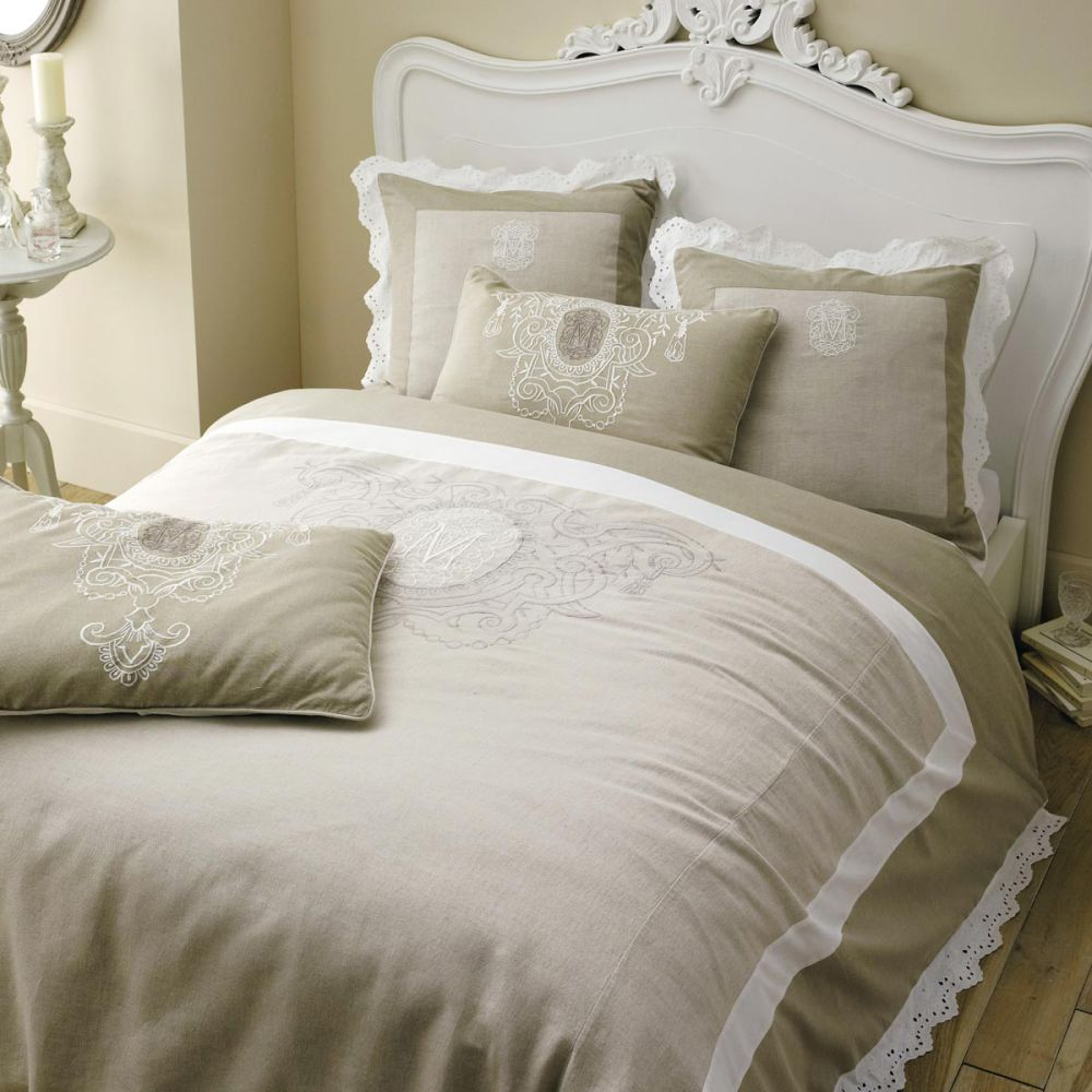 Parure housse de couette 240x220 4 taies d 39 oreiller for Linge de maison lin