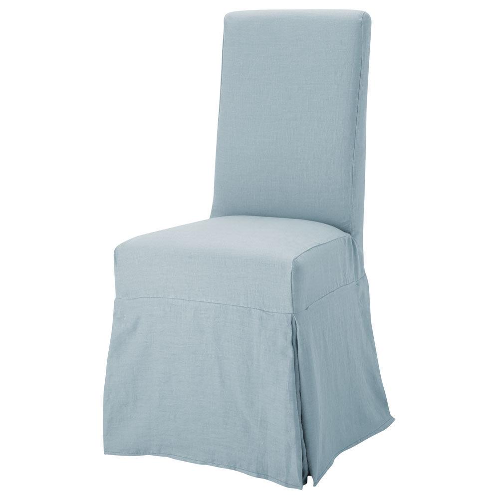 Housse lin bleu gris margaux maisons du monde for Housse de chaise lin
