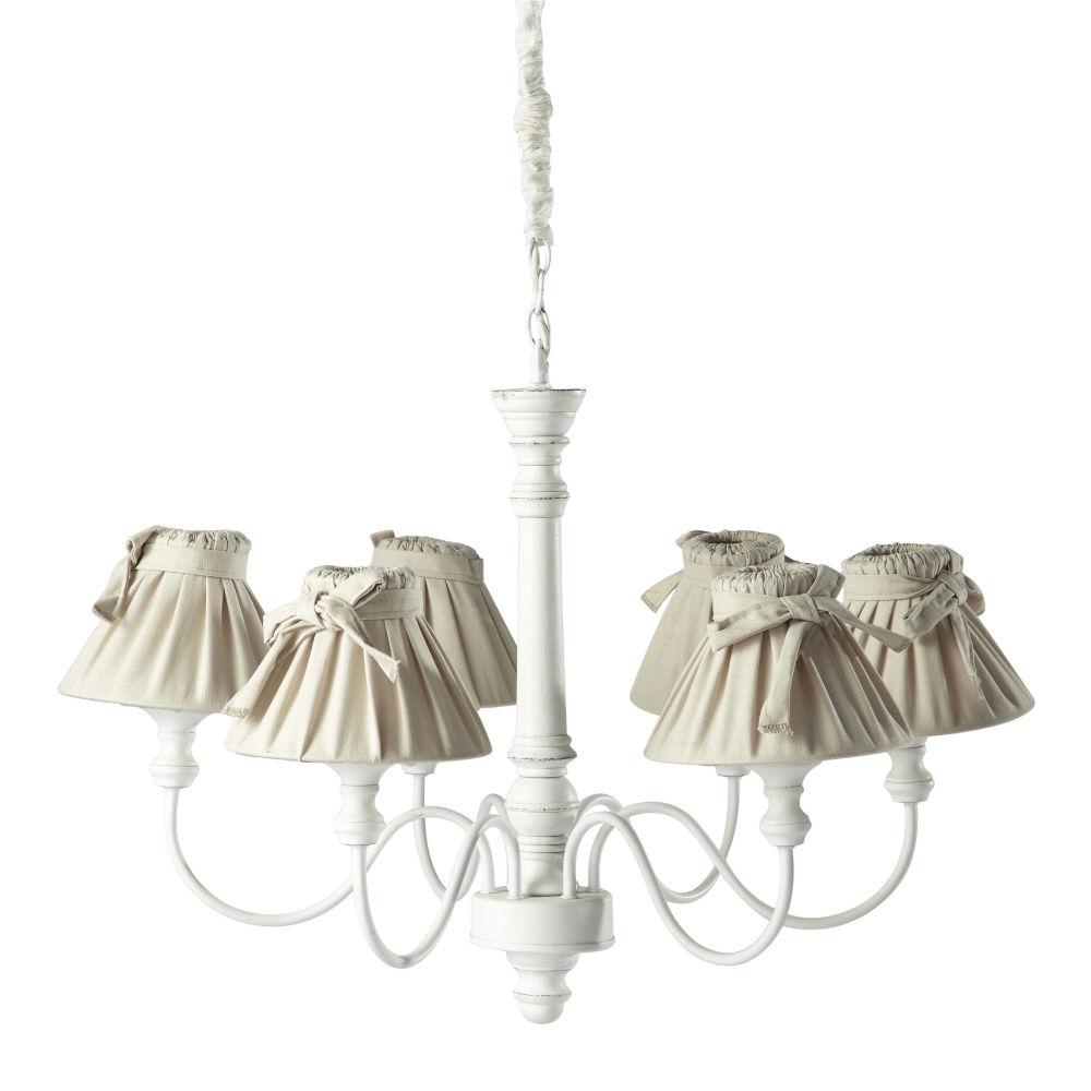 Lampadario bianco 6 bracci in legno e cotone D 73 cm ROMANCE ...