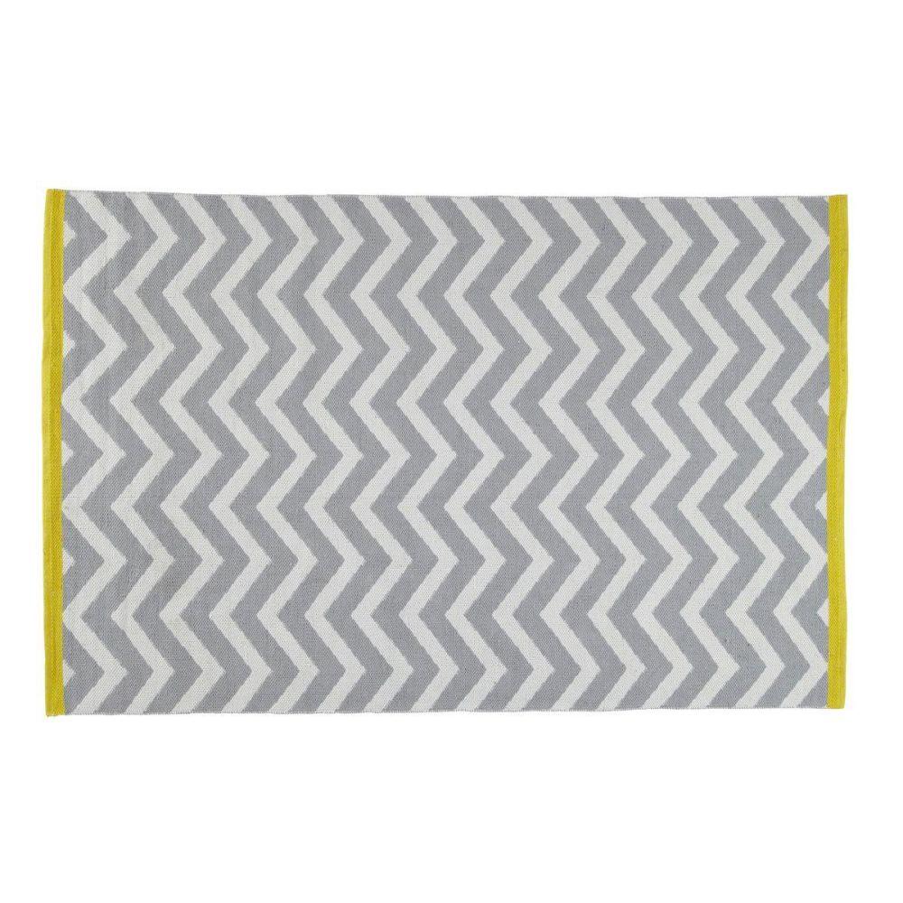 Tapis à poils courts en coton gris 140 x 200 cm WAVE | Maisons du ...