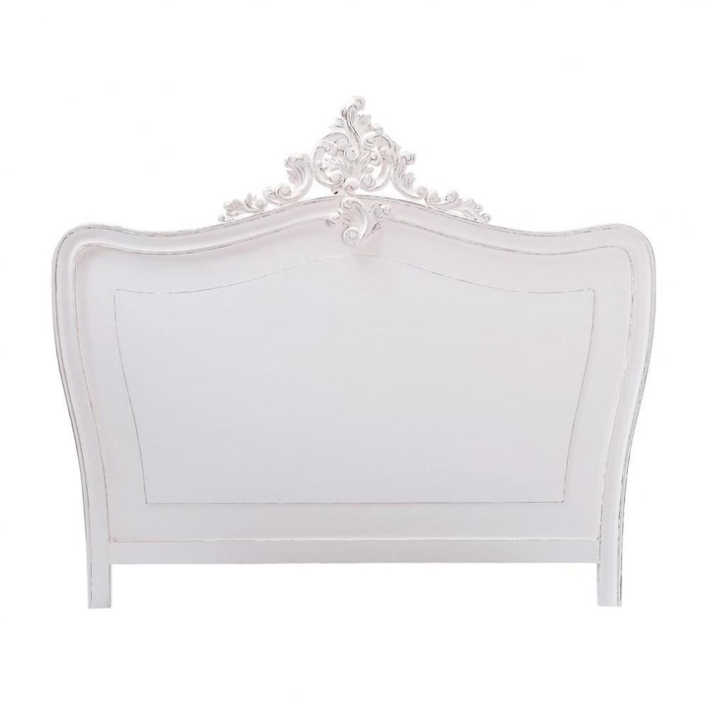 t te de lit en bois blanche l 202 cm comtesse maisons du. Black Bedroom Furniture Sets. Home Design Ideas