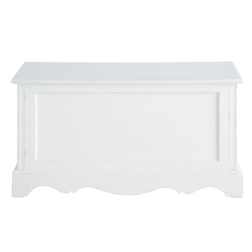 Coffre en bois de paulownia blanc l 80 cm jos phine maisons du monde - Josephine maison du monde ...