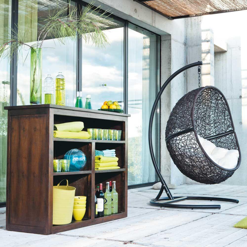 fauteuil de jardin sur pied en r sine marron cocon. Black Bedroom Furniture Sets. Home Design Ideas