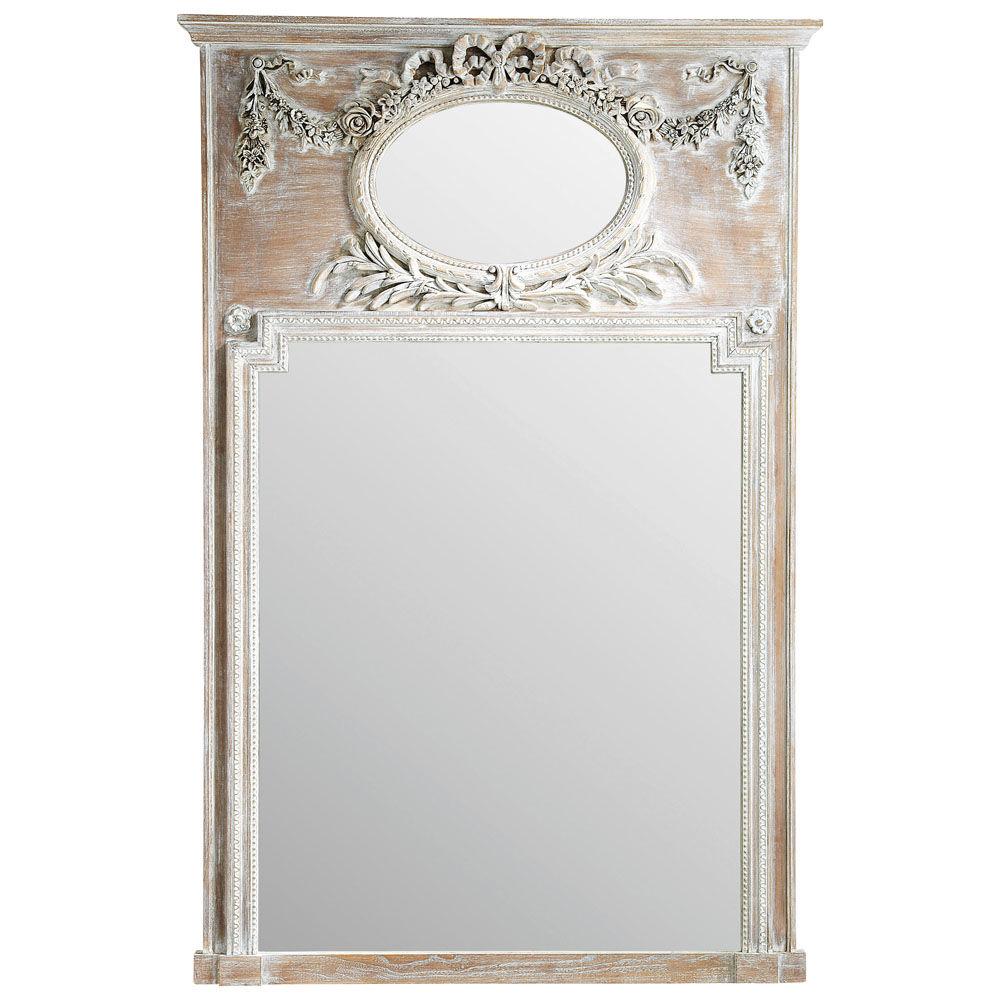 Miroir trumeau en bois h 160 cm mirano maisons du monde for Miroir adhesif grand format