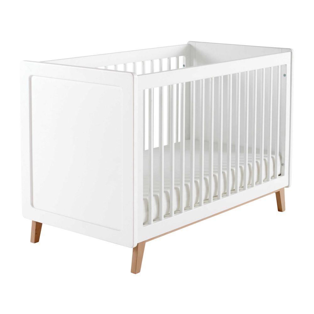 Lit bébé  barreaux blanc L 126 cm Sweet
