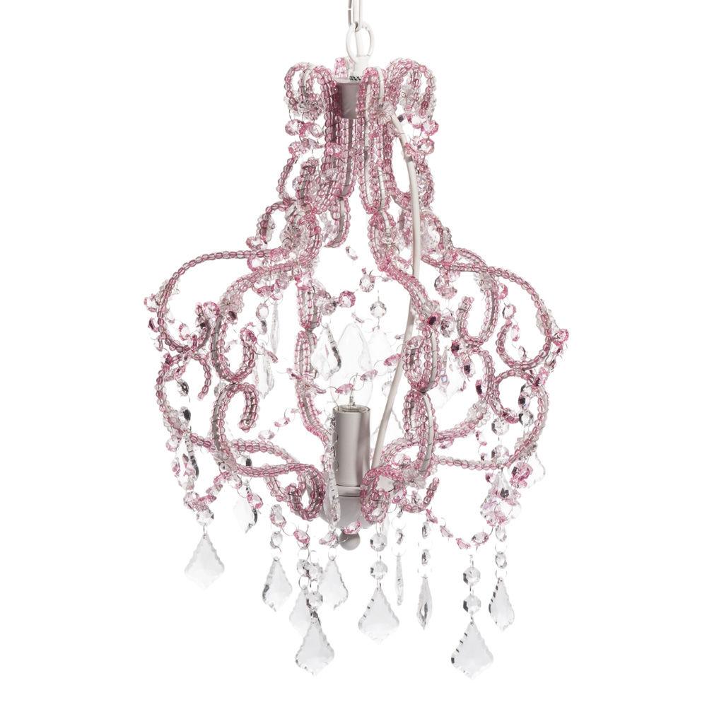 Lustre à pampilles en métal rose D 30 cm NYMPHE | Maisons du Monde