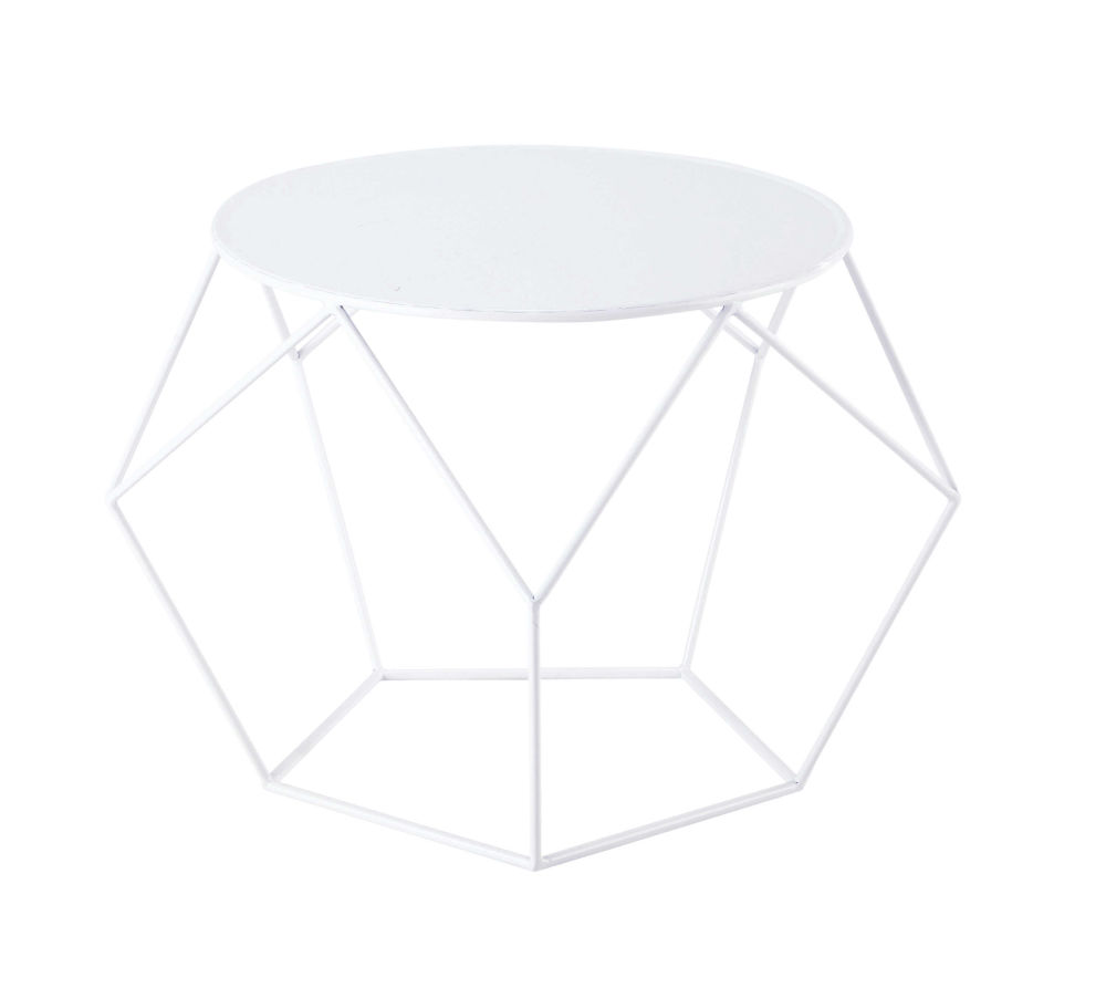 Metal Round Coffee Table In White D 64cm