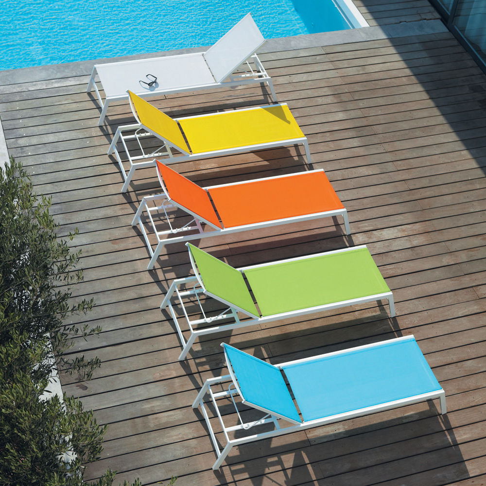 bain de soleil en aluminium blanc l 192 cm hawai maisons. Black Bedroom Furniture Sets. Home Design Ideas