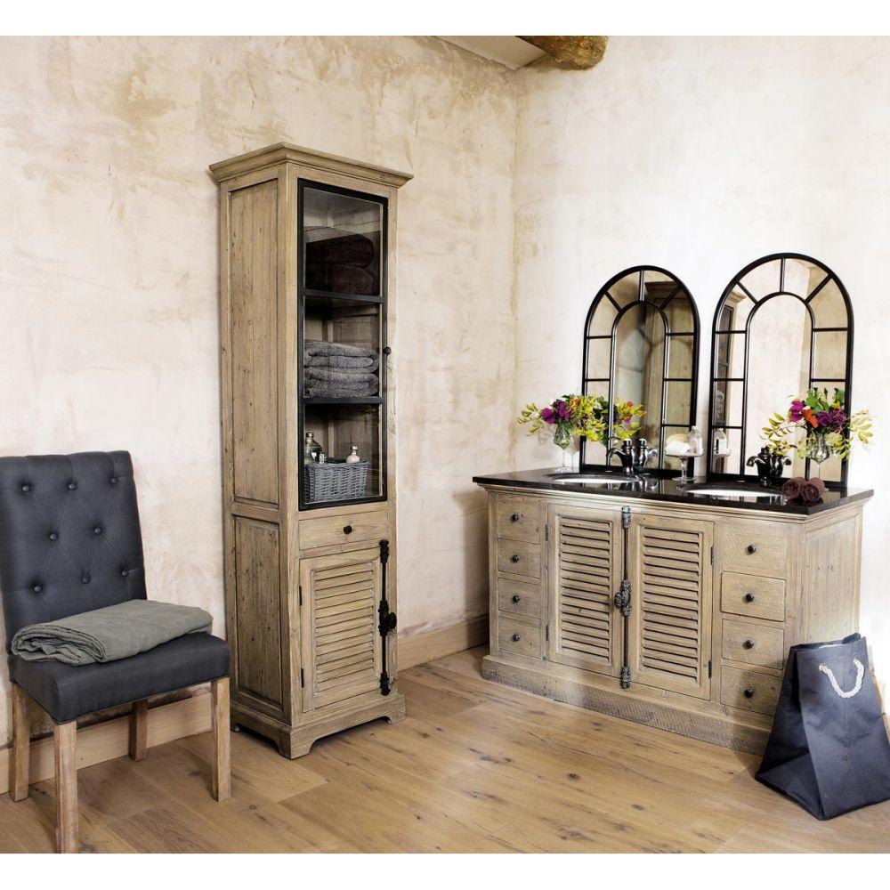 Vitrine en bois recycl l 52 cm persiennes maisons du monde for Valet de chambre maison du monde