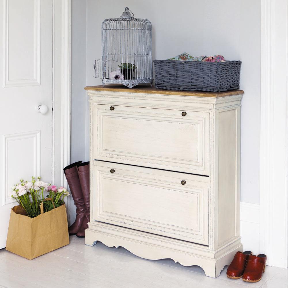Meuble chaussures en bois de paulownia blanc l 93 cm - Meuble maison du monde occasion ...