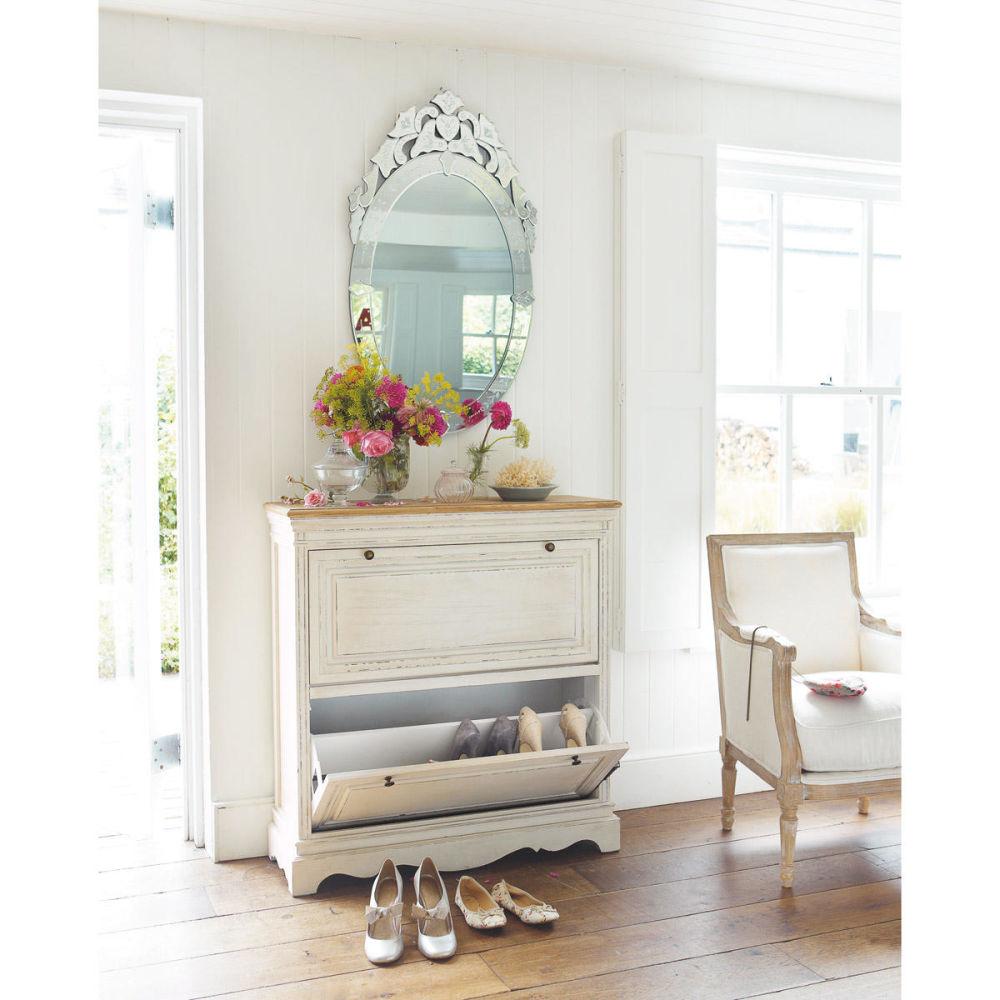 Meuble chaussures en bois de paulownia blanc l 93 cm for Meuble zinc maison du monde