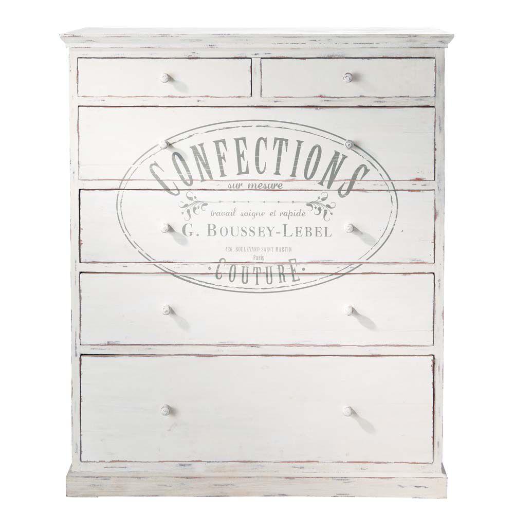 commode imprim e en bois blanche l 110 cm confection. Black Bedroom Furniture Sets. Home Design Ideas