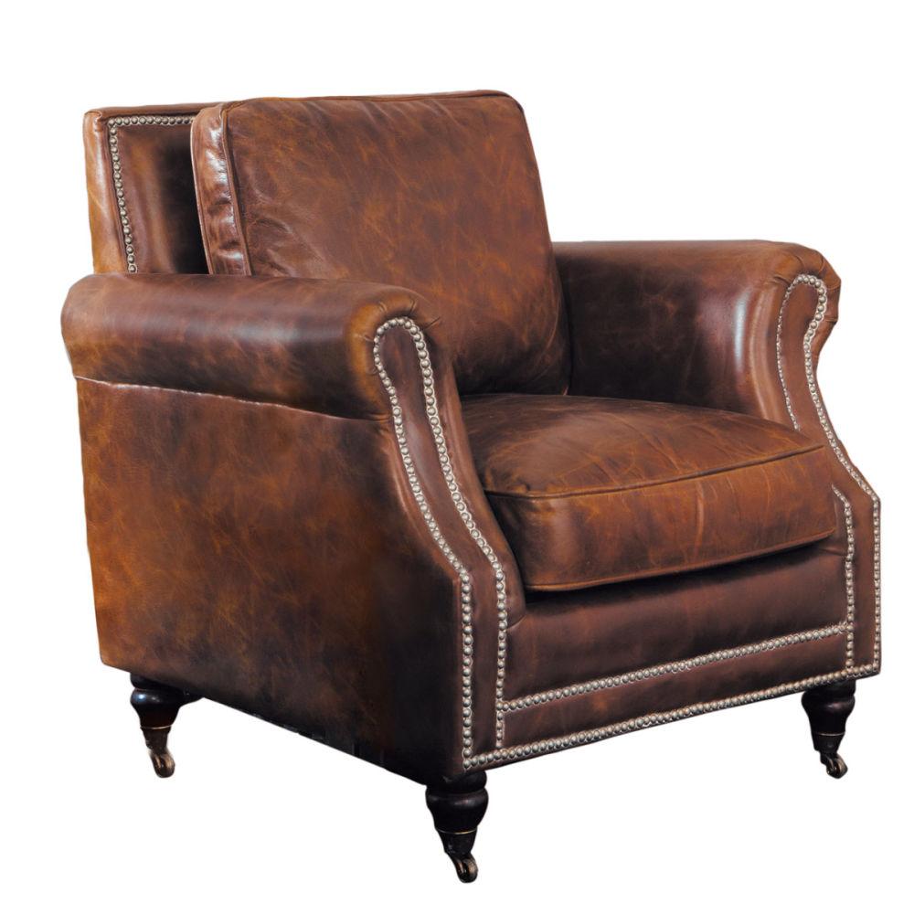 Fauteuil roulettes en cuir marron baudelaire maisons du monde - Fauteuil cuir marron ...