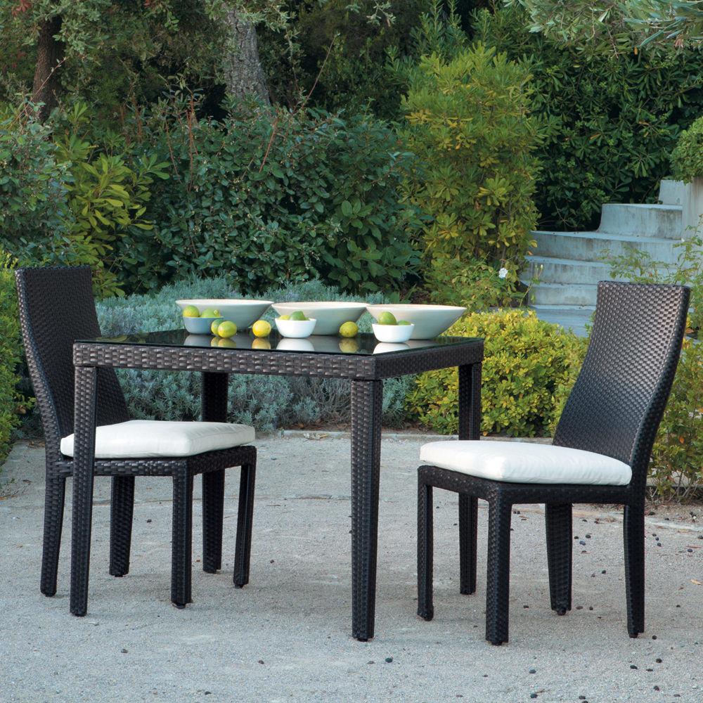 Chaise de jardin coussin en r sine tress e et tissu for Chaise de jardin noire
