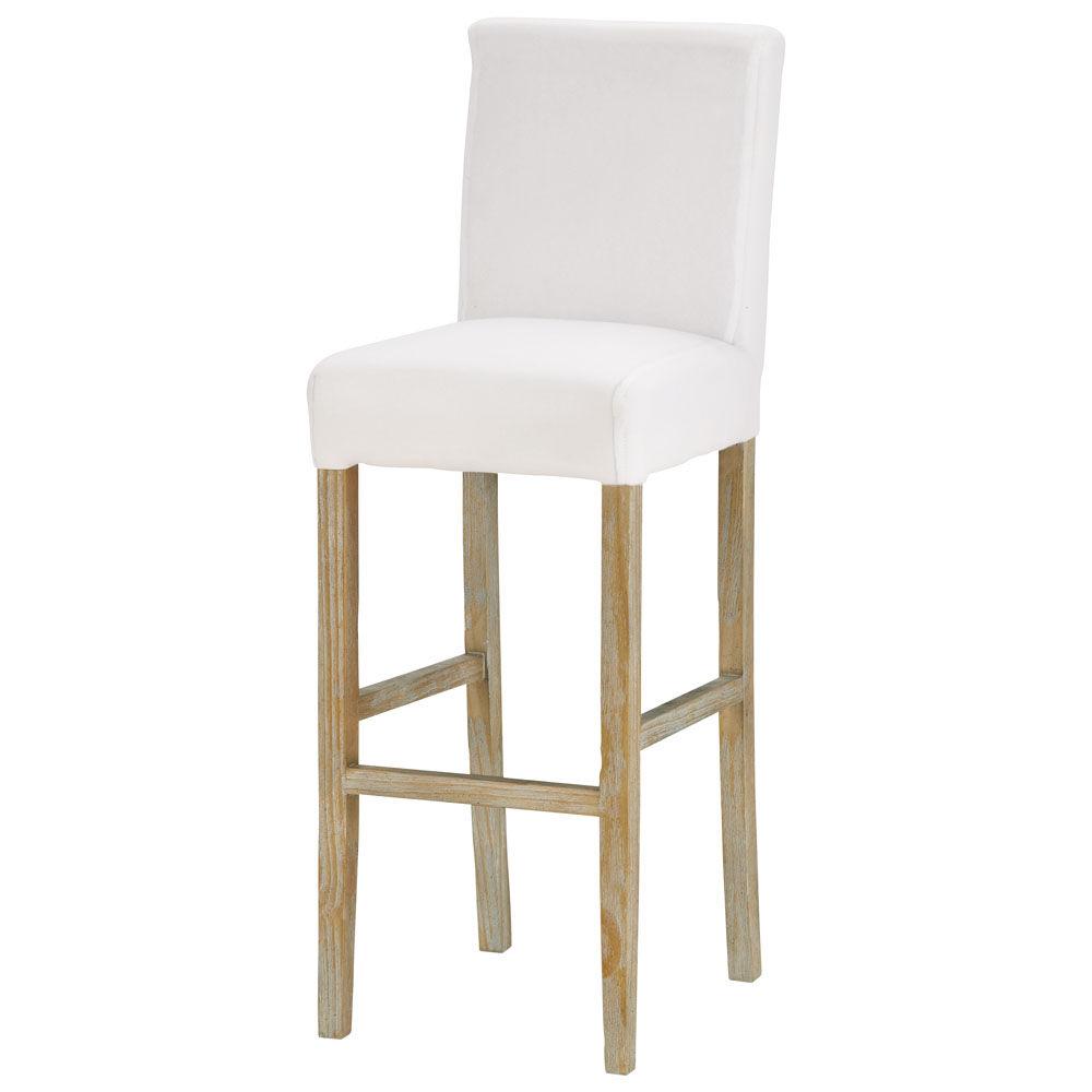 Chaise de bar en tissu et bois massif blanche boston - Chaise et tabouret de bar ...