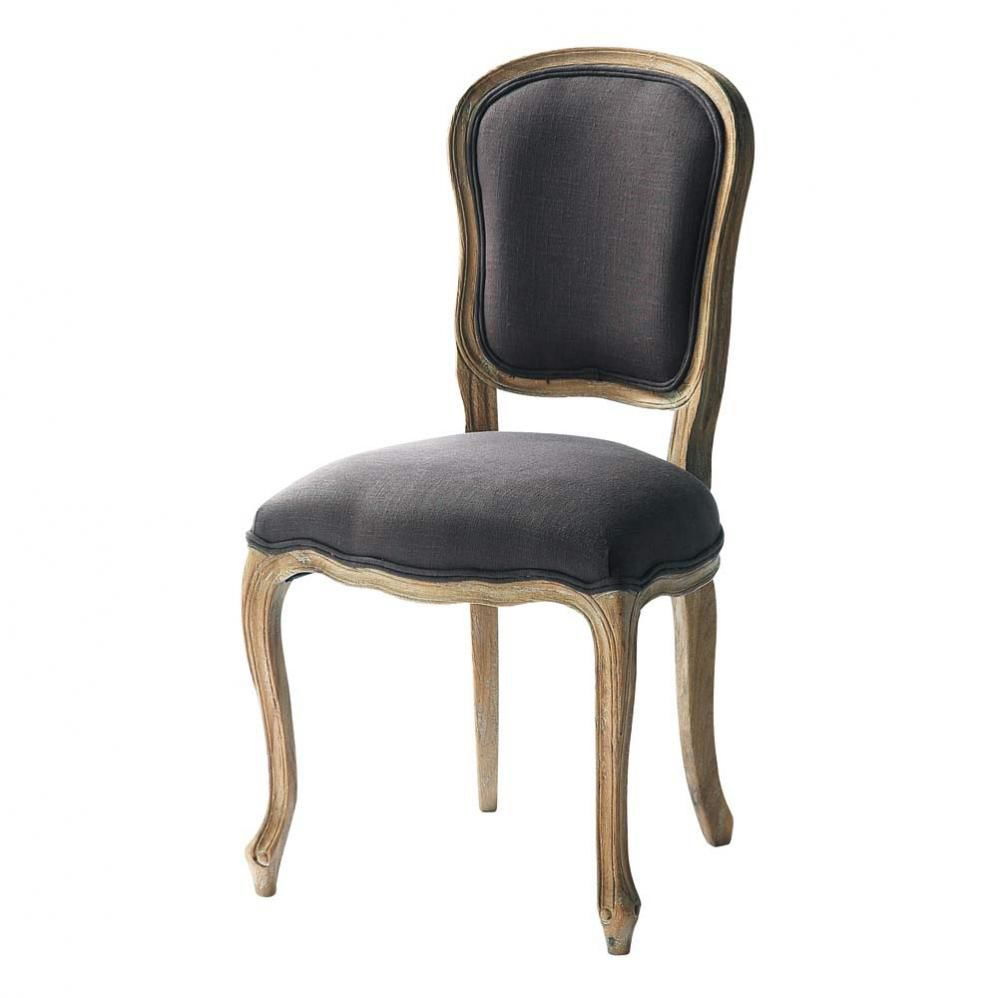 chaise en lin taupe grisé versailles | maisons du monde - Chaise Tulipe Maison Du Monde