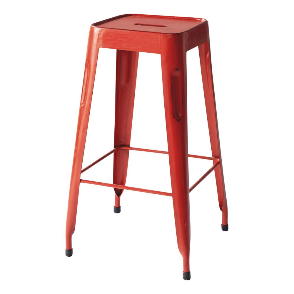 tabouret de bar indus en m tal rouge jim maisons du monde. Black Bedroom Furniture Sets. Home Design Ideas