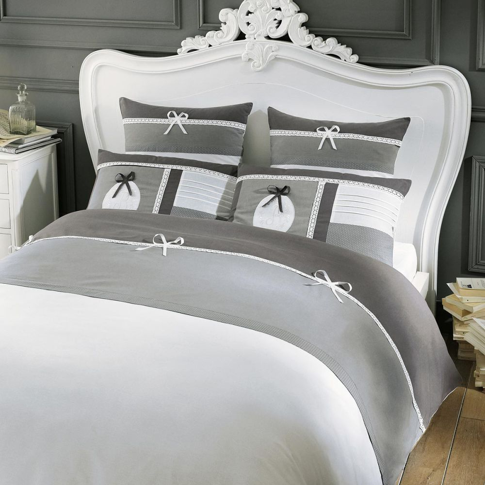 parure de lit 240 x 260 cm en coton grise chaumont. Black Bedroom Furniture Sets. Home Design Ideas