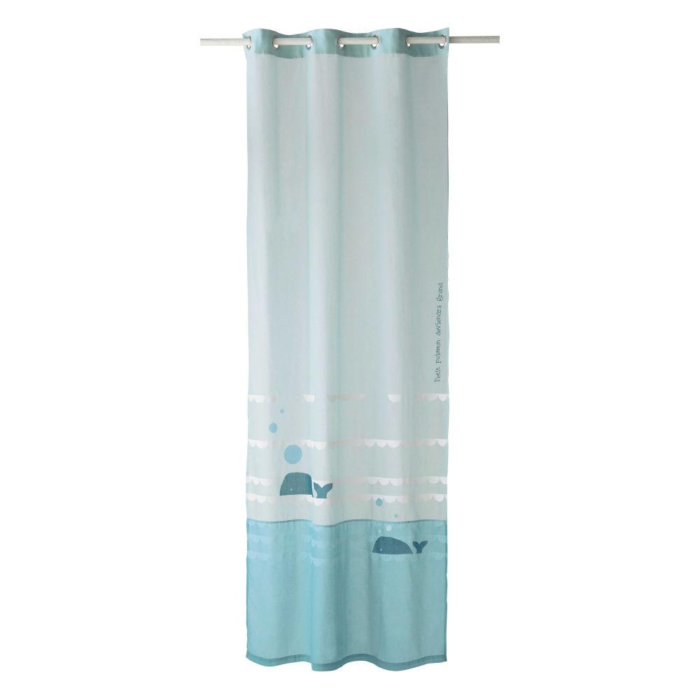 Rideau  œillets en coton bleu 110 x 250 cm MARIN