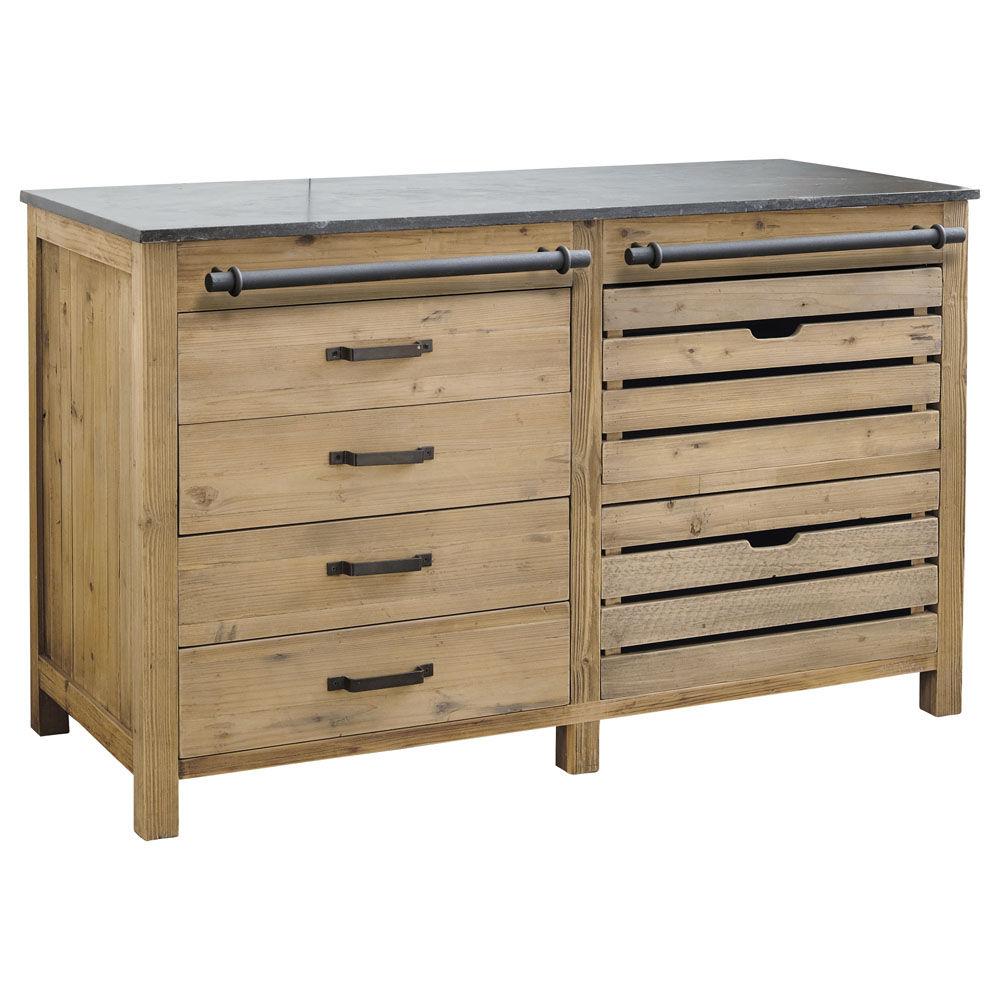 Küchenunterschrank aus Recyclingholz, B 140 cm Pagnol | Maisons du ... | {Küchen unterschrank schubladen 26}