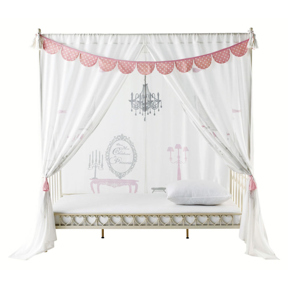 rideau pour lit baldaquin en coton blanc x cm princesse maisons du monde with lit enfant maison. Black Bedroom Furniture Sets. Home Design Ideas