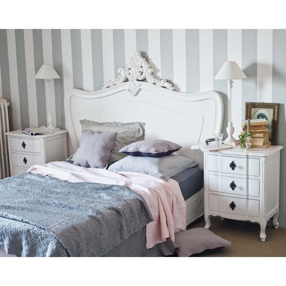Tête de lit en bois blanche L 140 cm Comtesse  Maisons du