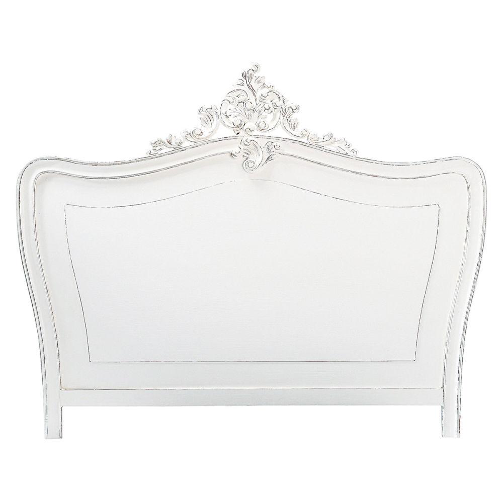 T te de lit en bois blanche l 140 cm comtesse maisons du monde - Lit style romantique ...
