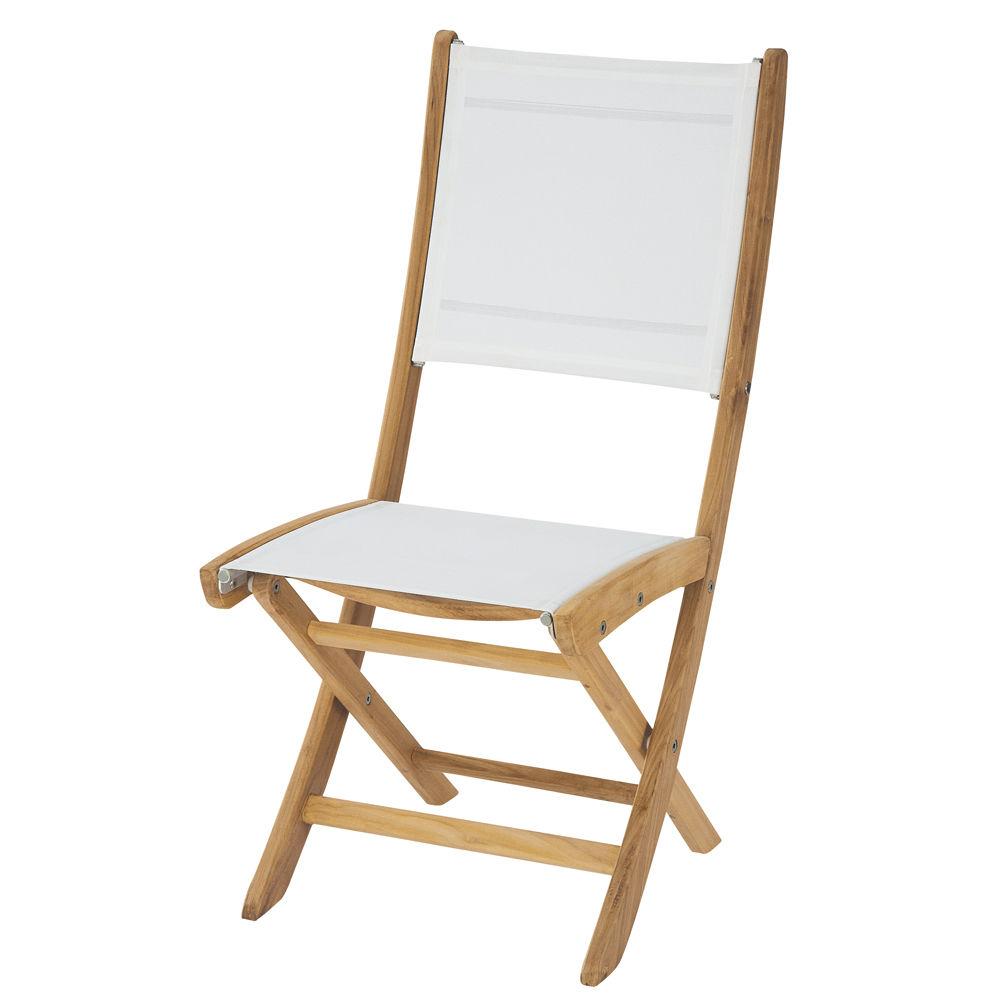 Chaise de jardin pliante blanche teck Capri | Maisons du Monde