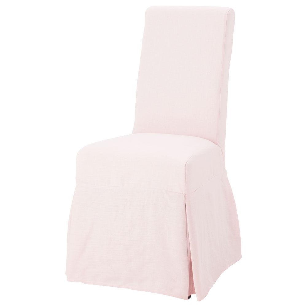 Housse lin rose p le margaux maisons du monde for Housse de chaise rose