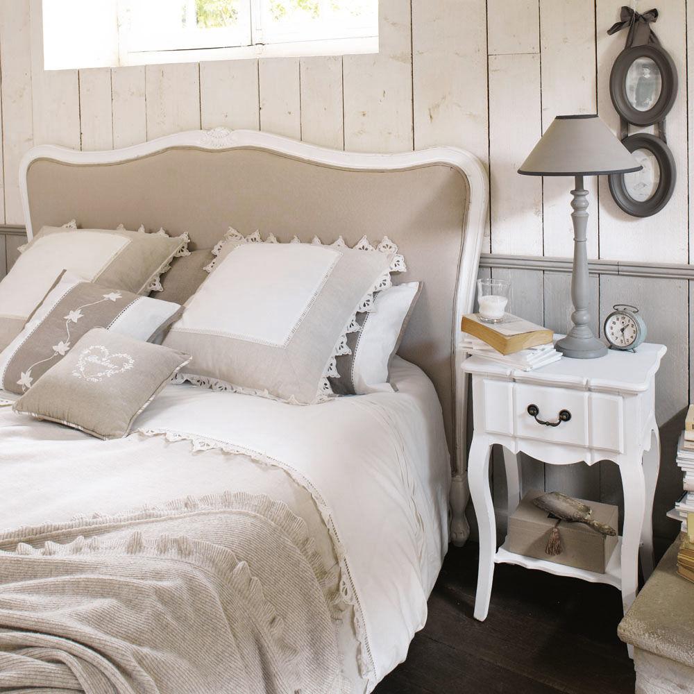 Table de chevet avec tiroir en bois de paulownia blanche l for Table josephine maison du monde