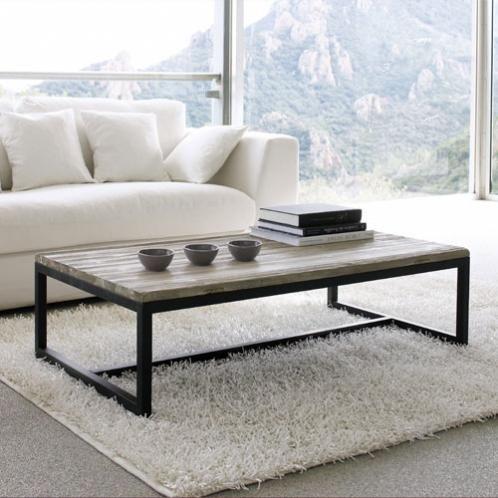 table basse indus en bois et m tal l 129 cm long island. Black Bedroom Furniture Sets. Home Design Ideas