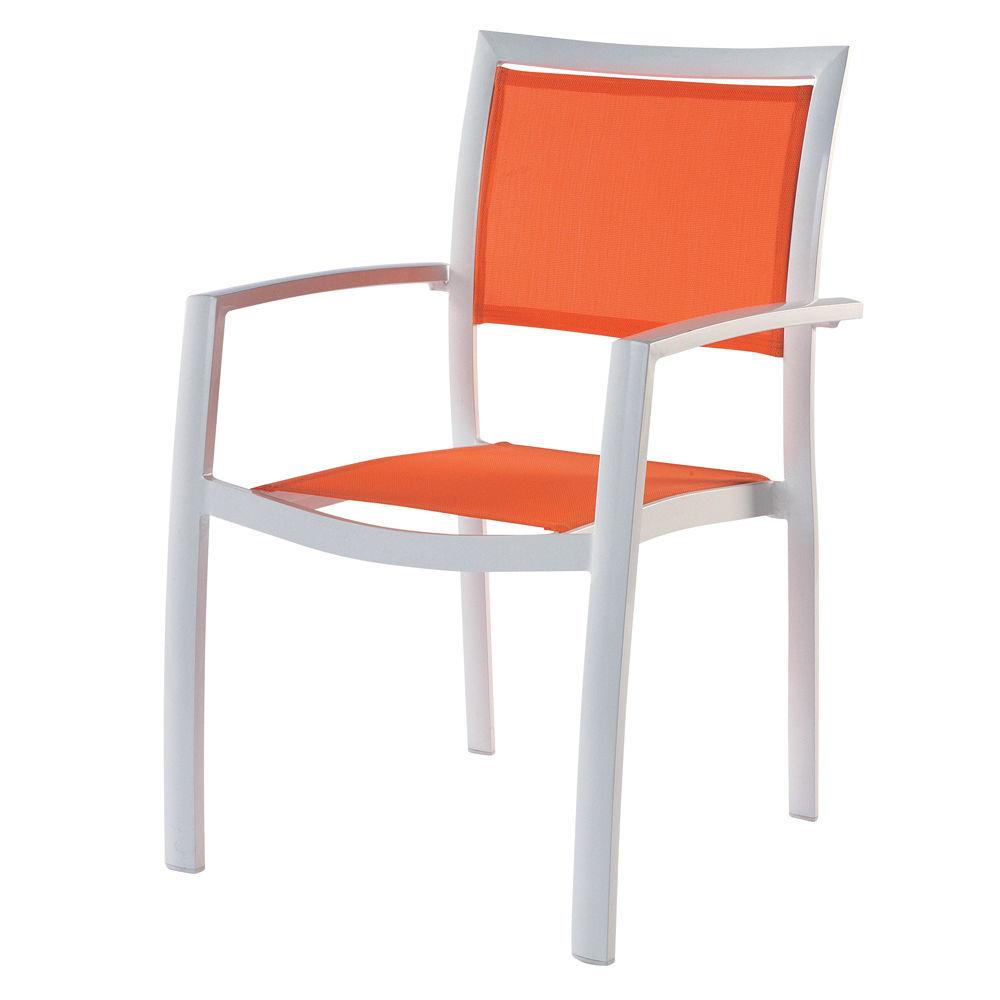 Fauteuil de jardin en aluminium blanc hawai maisons du monde - Chaise salon de jardin orange ...