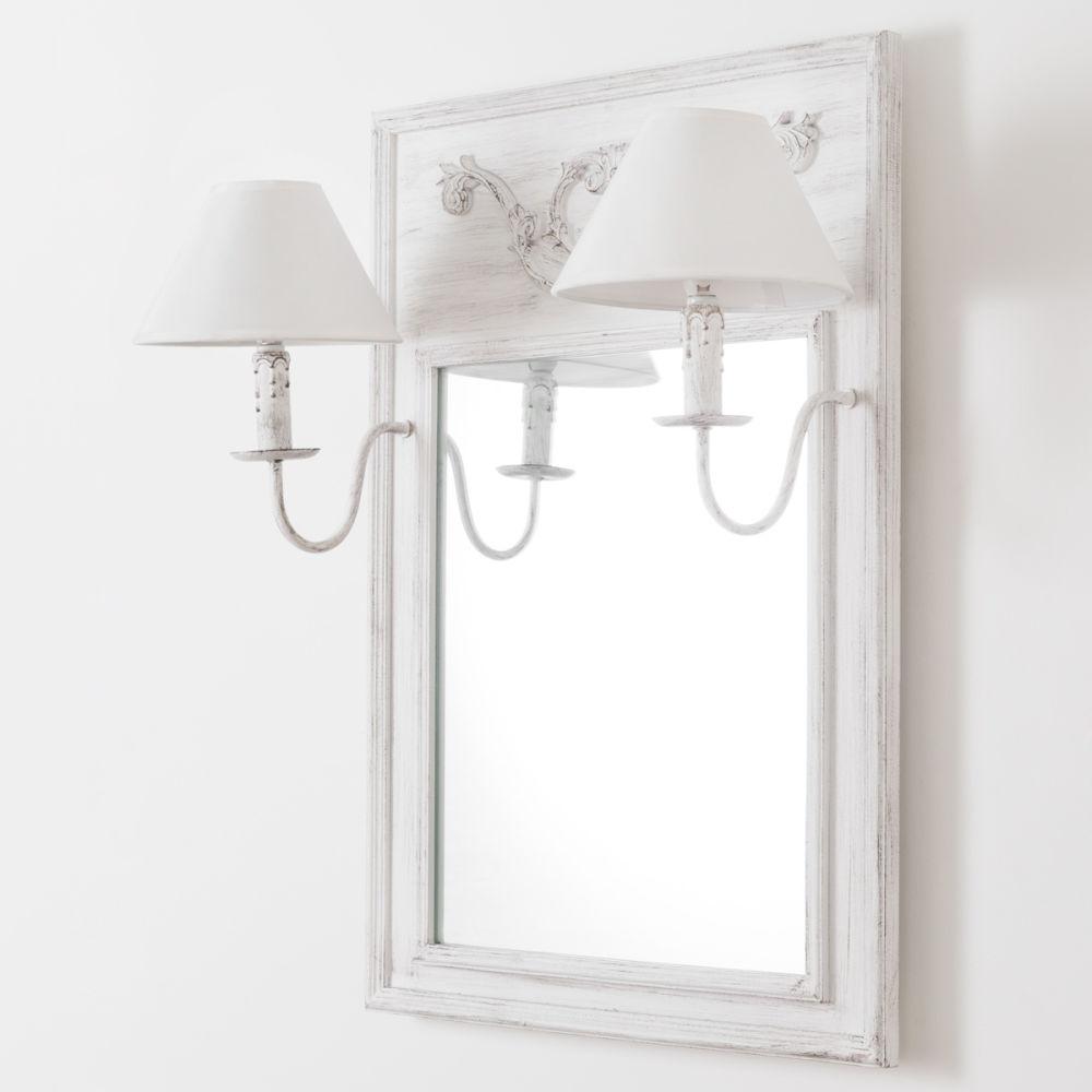 Specchio in legno e tela effetto anticato con applique doppio H 70 ...