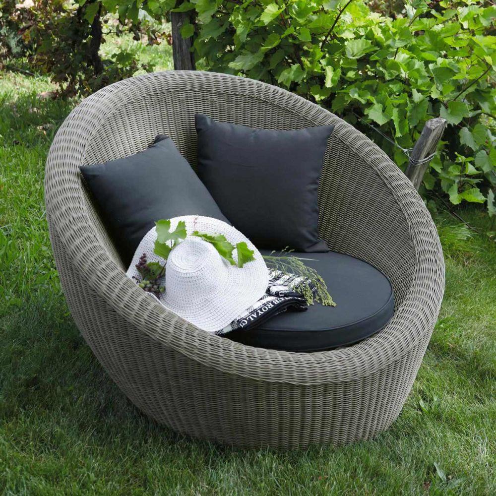 fauteuil de jardin rond gris palerme maisons du monde. Black Bedroom Furniture Sets. Home Design Ideas