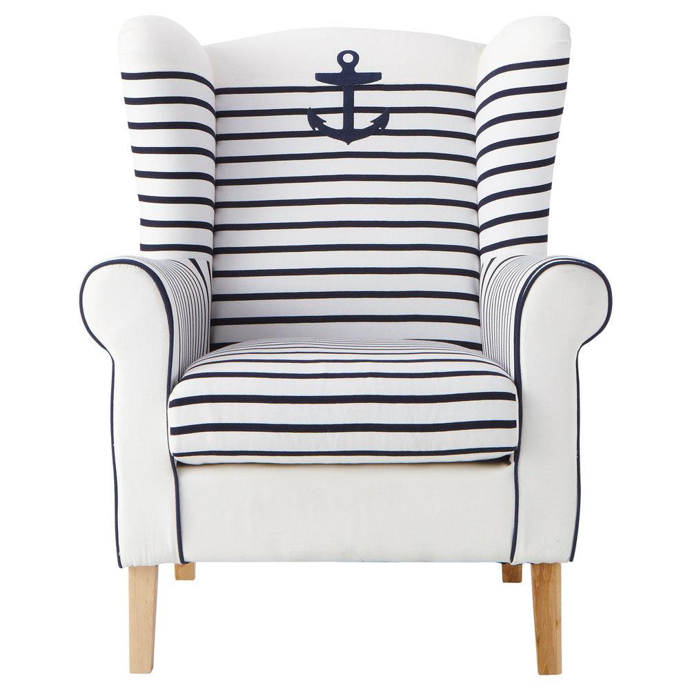 fauteuil rayures en coton ivoire et marine corsaire. Black Bedroom Furniture Sets. Home Design Ideas