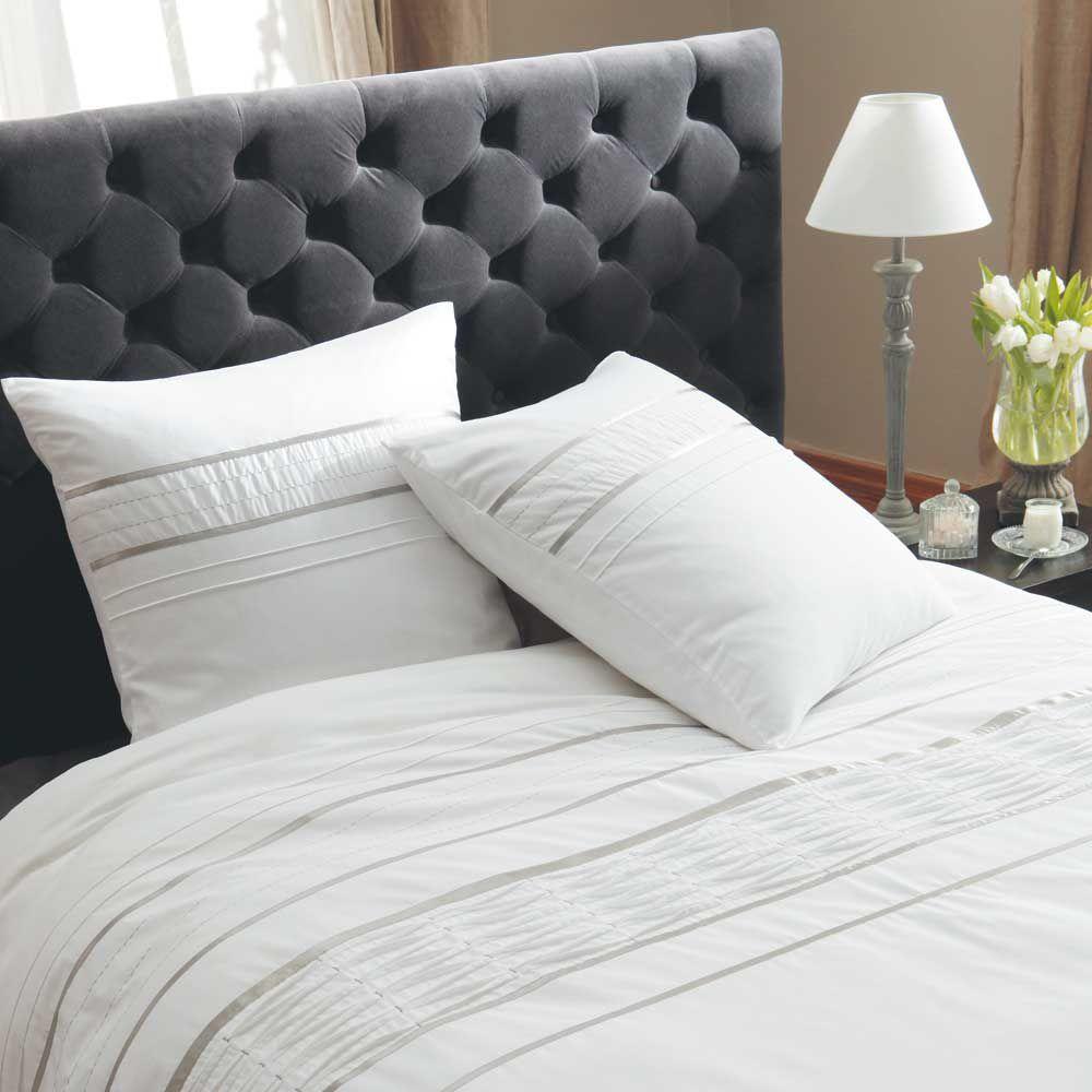 Parure de lit 240 x 260 cm en coton blanche lumi re for Parure de lit moderne