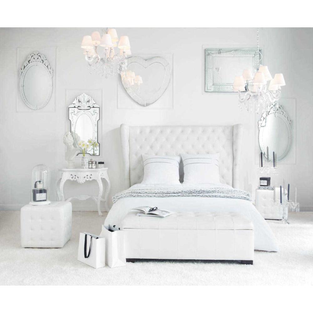Parure de lit 240 x 260 cm en coton blanche lumi re for Parure de lit maison du monde