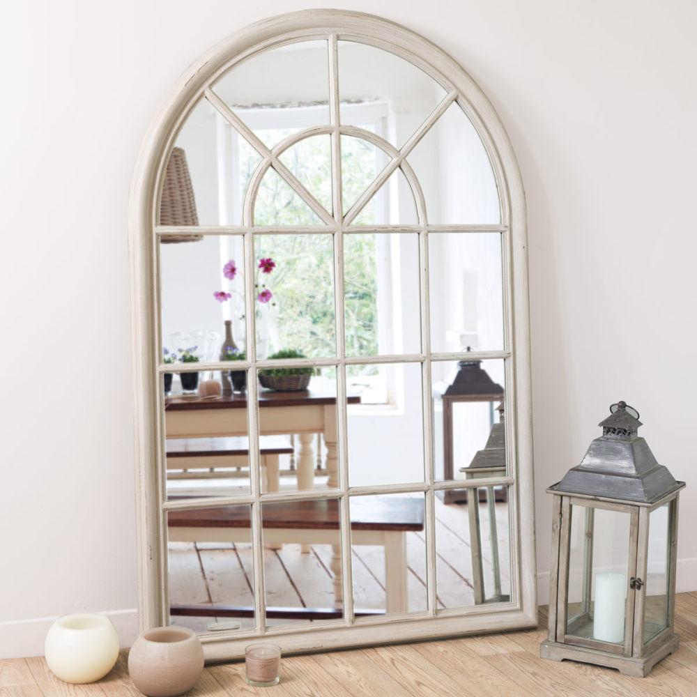 Miroir en bois beige h 150 cm serrant maisons du monde - Fixer un grand miroir au mur ...