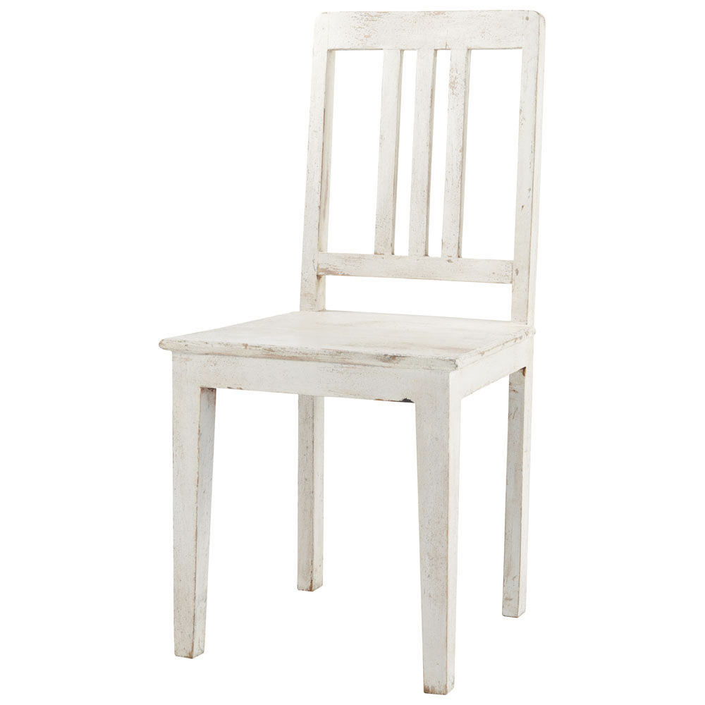 Chaise en manguier blanche effet vieilli avignon maisons for Housses de chaises blanches