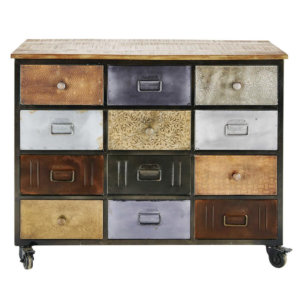 finest metal storage cabinet on castors in black w cm impala maisons du monde with cabinet. Black Bedroom Furniture Sets. Home Design Ideas