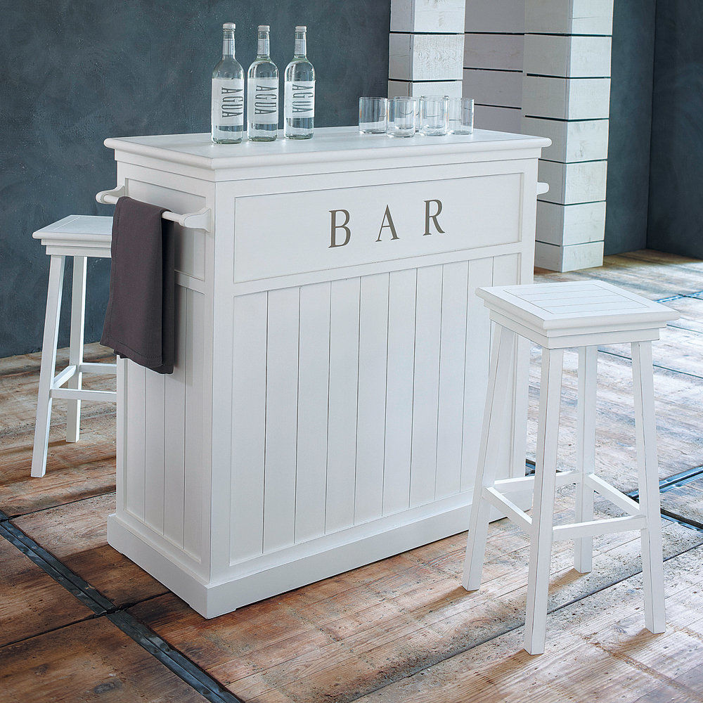 Meuble de bar en bois blanc l 120 cm newport maisons du for Bar planteur maison du monde