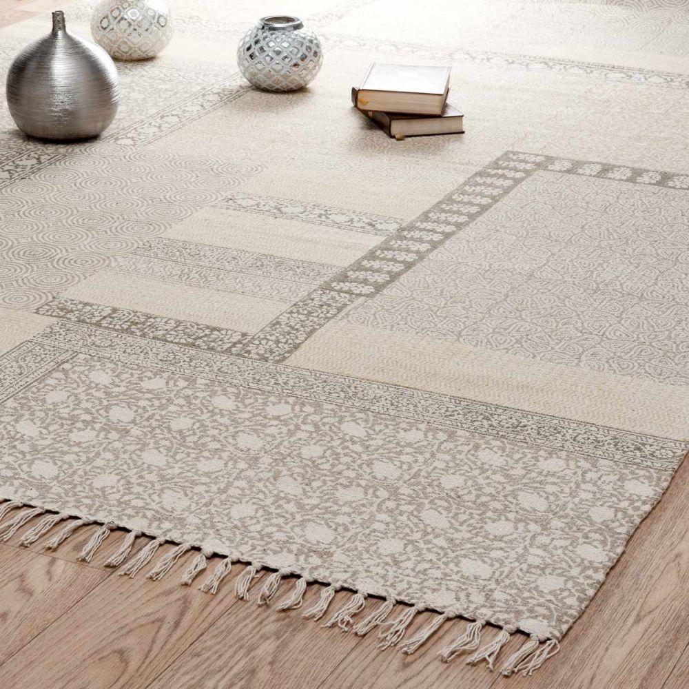 Tapis à poils courts en coton beige 160 x 230 cm MENARA   Maisons ...