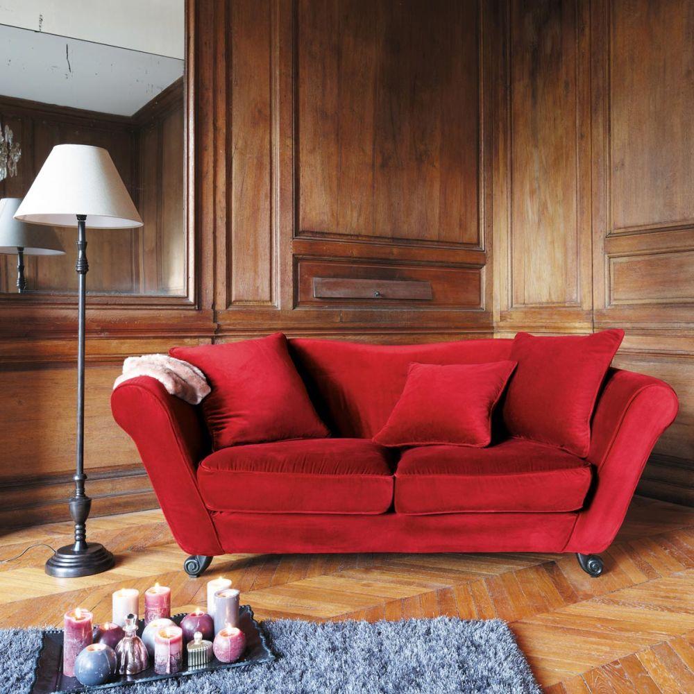 Canap 3 Places En Velours Rouge Baroque Maisons Du Monde