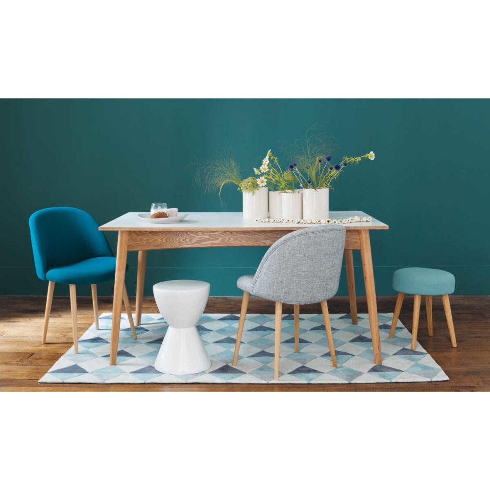 chaise vintage en tissu et bouleau massif bleu p trole. Black Bedroom Furniture Sets. Home Design Ideas