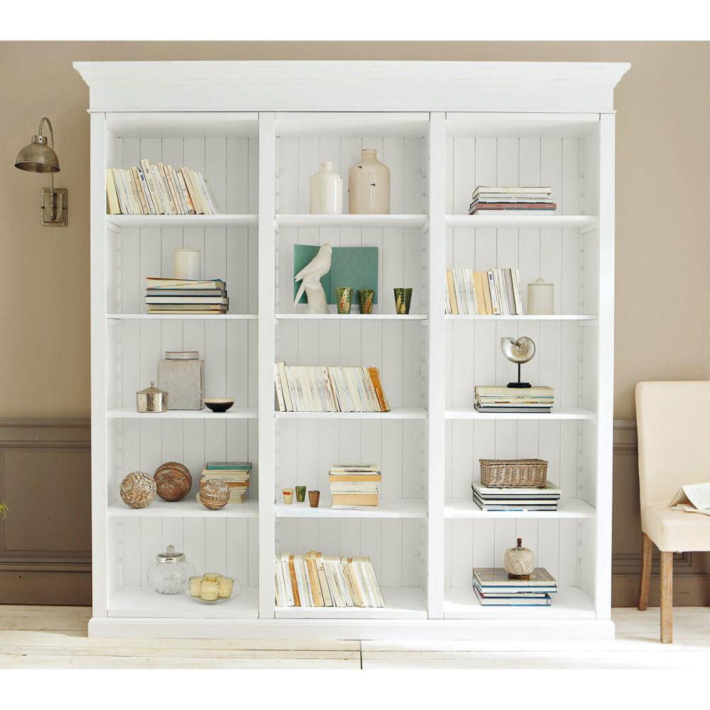 Biblioth que en bois blanche l 220 cm biarritz maisons - Meuble bibliotheque ouverte ...