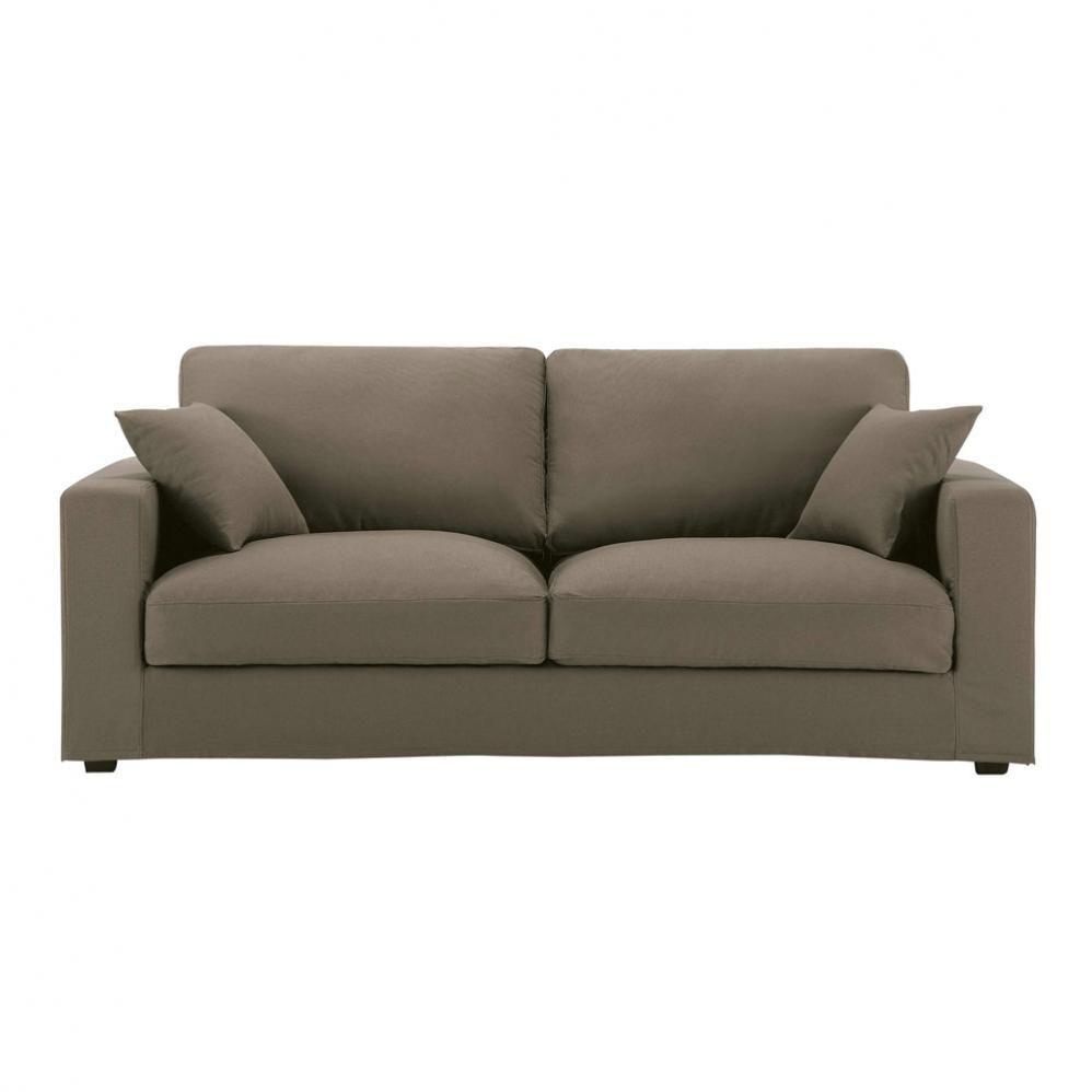 canap 3 places en coton taupe chicago maisons du monde. Black Bedroom Furniture Sets. Home Design Ideas