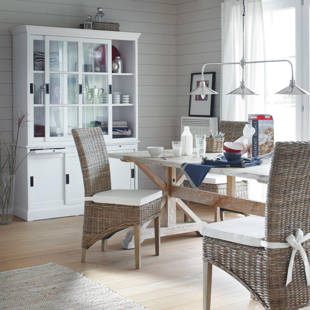 Bahut en bois blanc l 140 cm bastille maisons du monde - Maison du monde boite de rangement ...